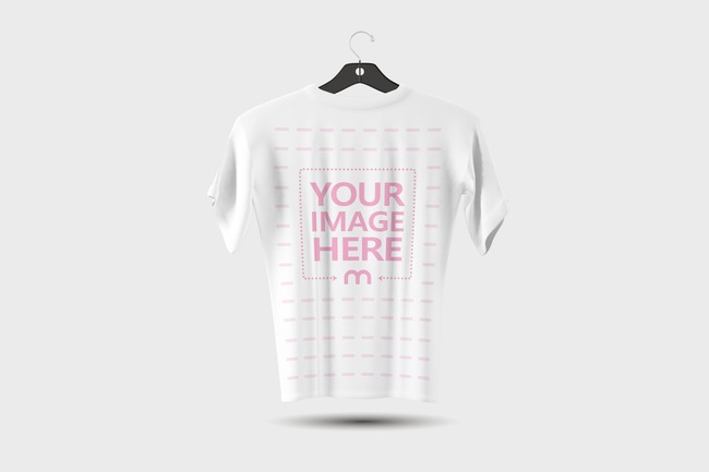 T-Shirt on Hanger Back View Mockup Template preview image