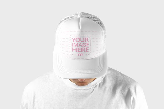 Closeup Man Wearing Baseball Hat Mockup Template preview image