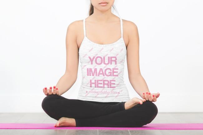 Woman in Yoga Lotus Pose Tank Top Mockup Template preview image