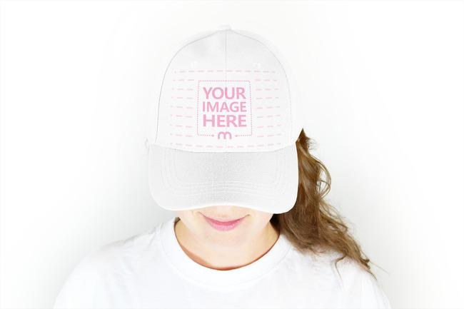 Girl Wearing Snapback Hat Online Mockup preview image