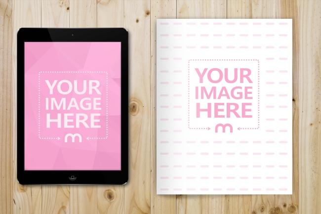 Magazine and iPad on Wood Desk Mockup Generator preview image