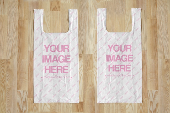 2 Plastic Bags on Wood Background Mockup Generator preview image