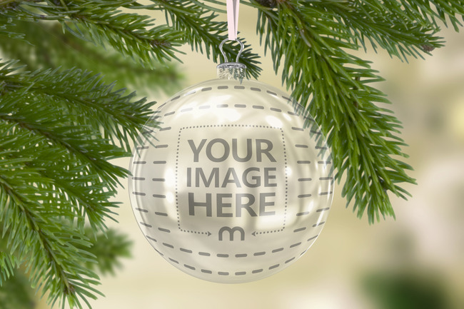 Clear Christmas Ornament Ball Mockup Generator preview image