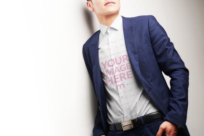 Young Man Wearing Dress Shirt Mockup