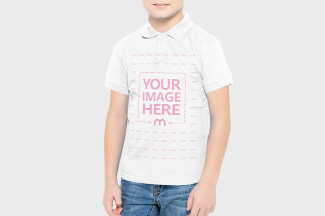 Young Boy Wearing Polo Shirt Mockup preview image