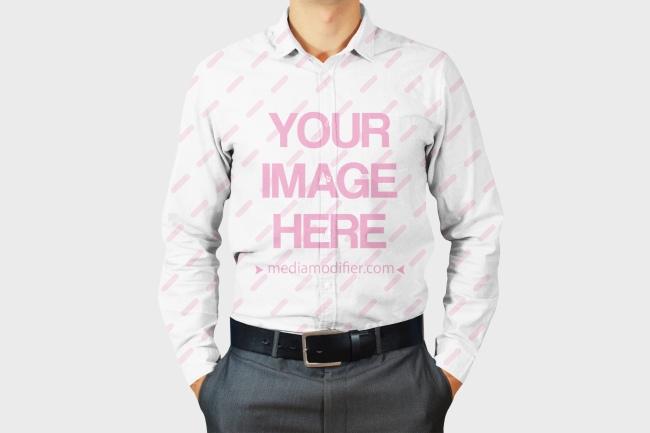 Men's Long Sleeve Dress Shirt Front View Mockup Generator preview image