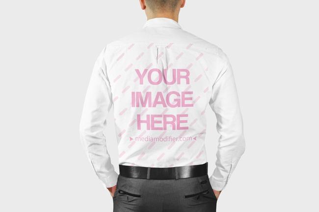Men's Long Sleeve Dress Shirt Back View Mockup Generator