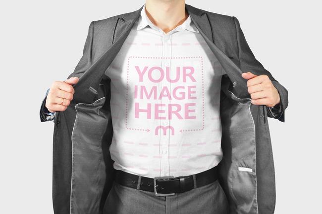 Businessman Showing Dress Shirt Mockup Template