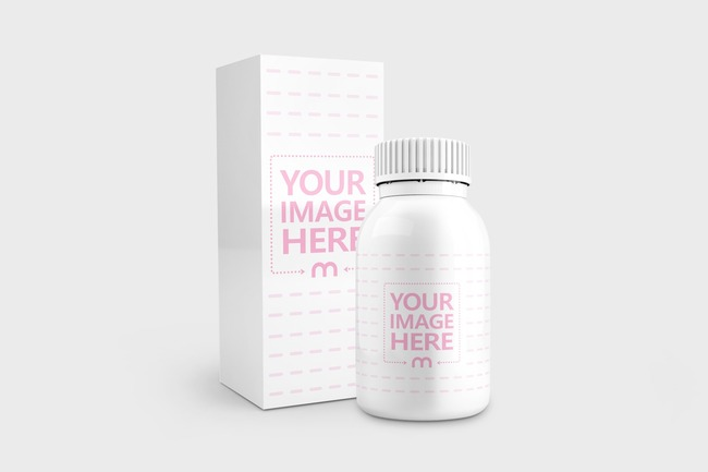 Drugs/Vitamins Bottle and Box Mockup Generator preview image