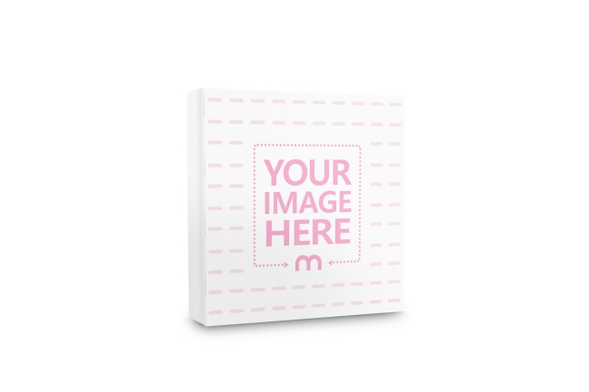 side view of square book mockup template psd