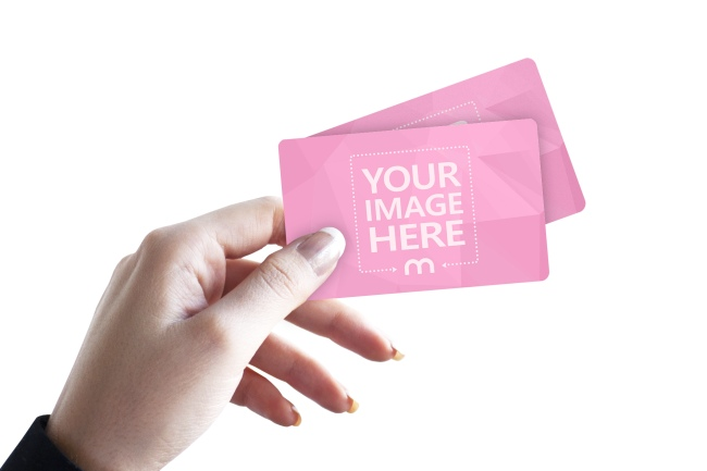 Woman Holding 2 Plastic Cards Online Mockup preview image