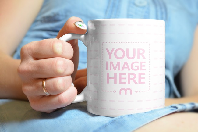 Closeup of Woman Holding a Coffee Mug Mockup preview image