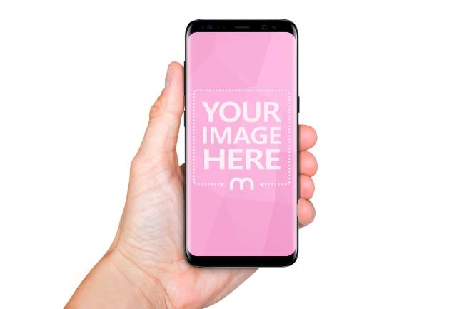 Samsung Galaxy S8 in Hand Online Mockup