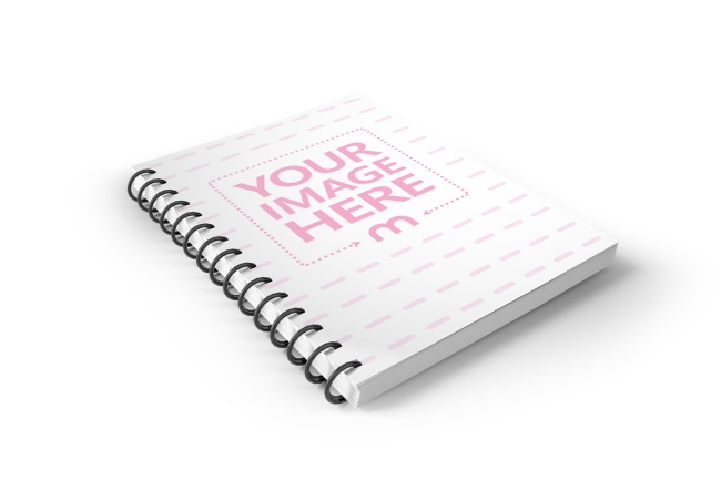 3d wirebound book notebook cover free mockup photoshop template