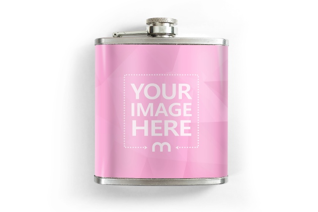 Stainless Metal Flask Bottle Online Mockup Template preview image