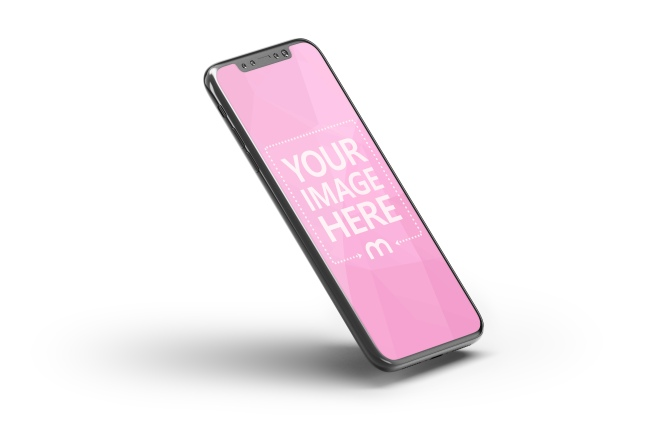 iPhone X Perspective 3D Side View Mockup Template preview image