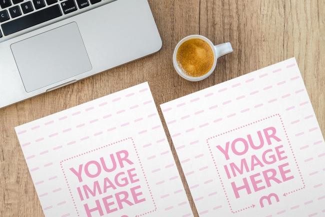 2 Papers on Office Desk Mockup