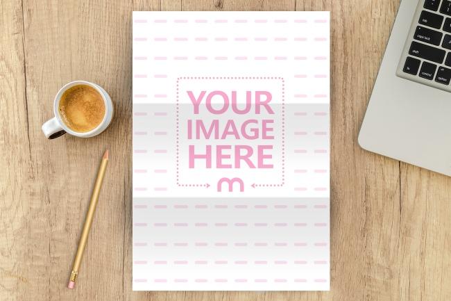 A4 Paper on Office Desk Scene Mockup Generator preview image