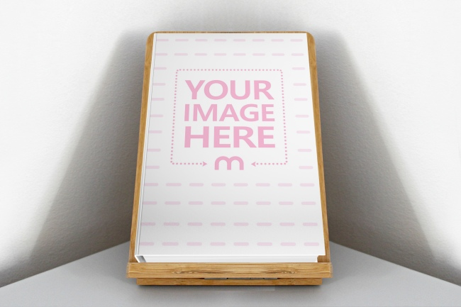 Hardcover Book on Wood Stand Mockup Generator preview image