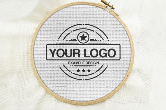 Cross Stitch Embroidery Logo Mockup