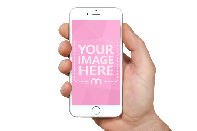 White iPhone in Hand Mockup Template preview image