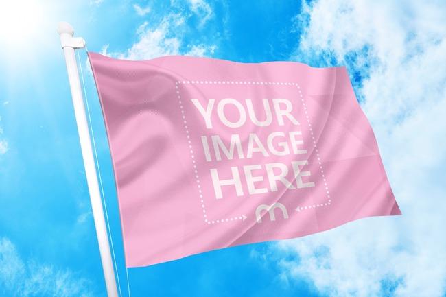 Waving Flag on Sky Background Mockup Generator