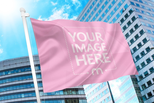 realistic image to flag online mockup effect