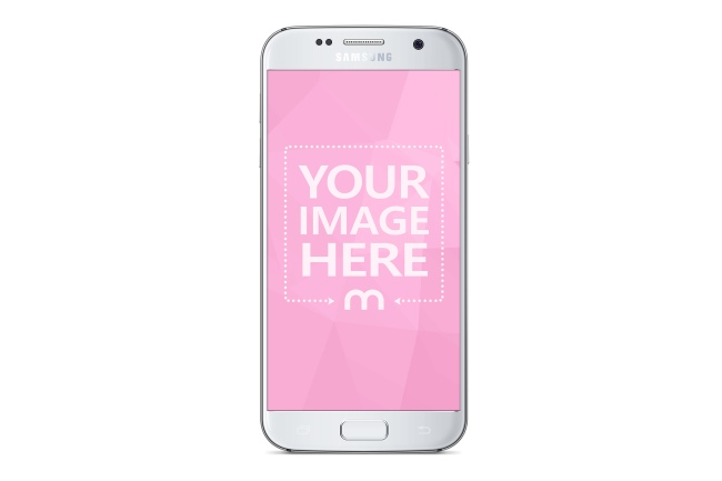 White Samsung Android Phone Portrait View Mockup
