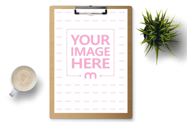 A4 Paper on Wood Clipboard Mockup Template