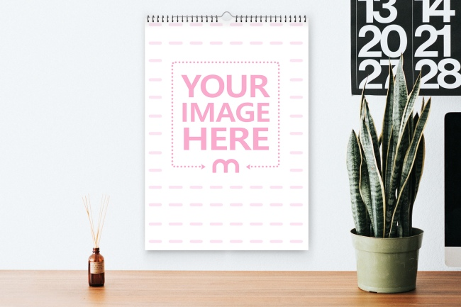 Wire Bound Wall Calendar Mockup Template