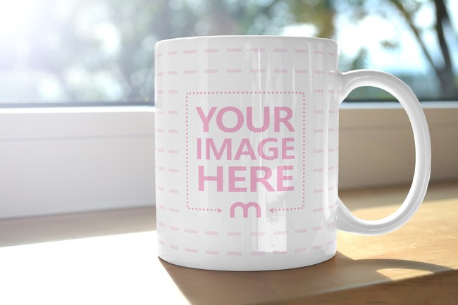 Coffee Mug on Wooden Window Sill Mockup preview image