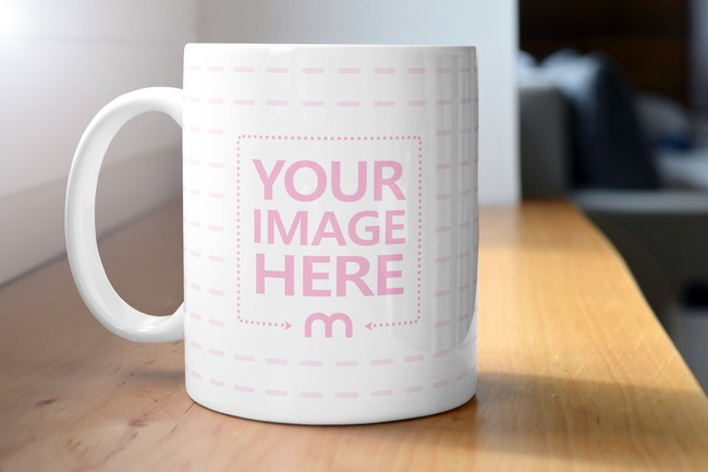 Coffee Mug on Wooden Kitchen Sill Mockup Generator preview image