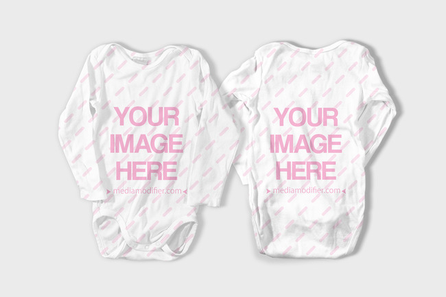 Baby One Piece Bodysuit Front and Back Mockup