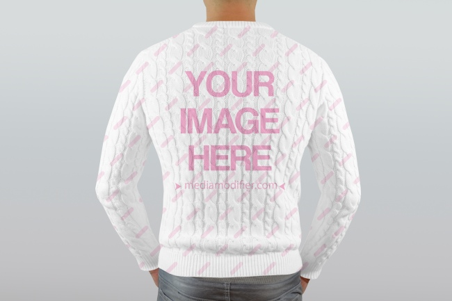 Men's Knitted Sweater Back View Mockup preview image