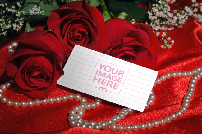 Business Card on Red Roses Background Mockup preview image