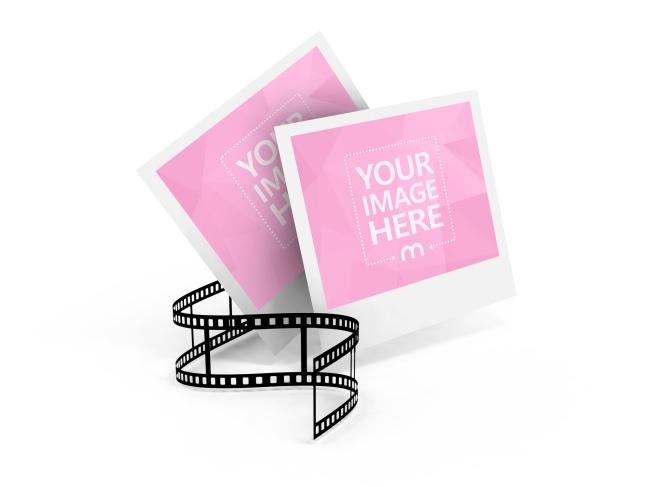 2 Polaroid Frames with a Film Strip Mockup