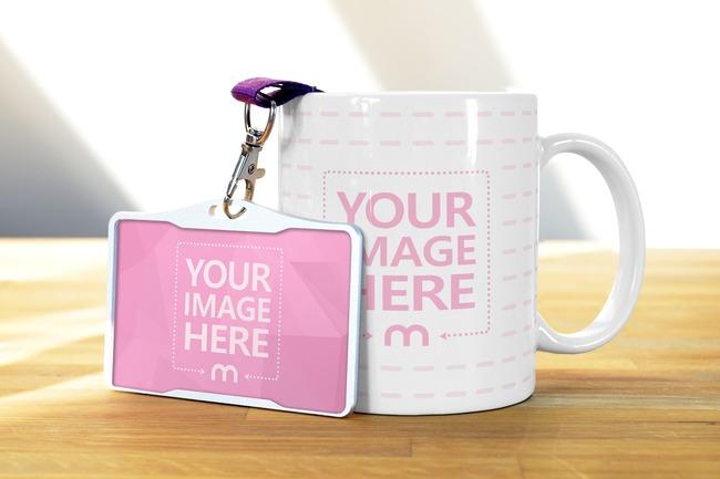 Coffee Mug and Name Tag Badge on Wood Table Mockup preview image