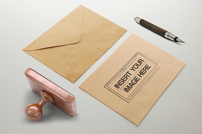Rectangle Stamp on Envelope Mockup preview image