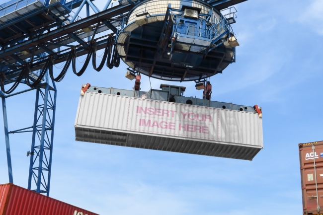 Realistic Shipping Container Logo Mockup preview image