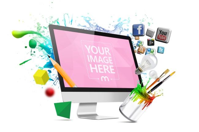 Creative Web Design Monitor Mockup
