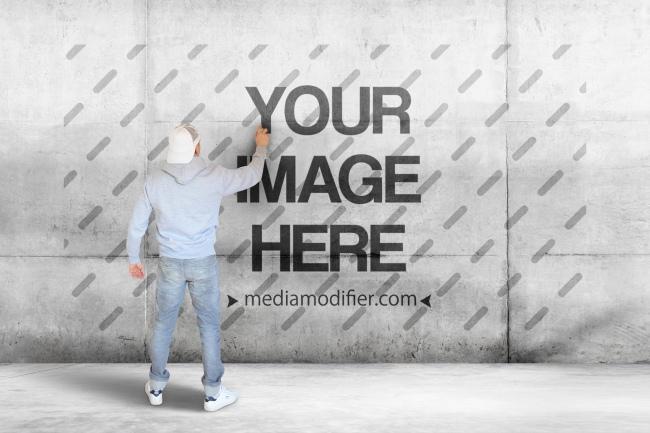logo as graffiti on wall free online logo mockup generator