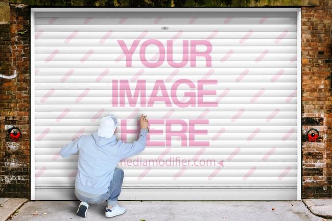 logo graffiti wall free online mockup generator template