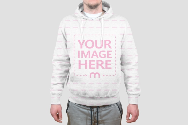Men's Hoodie Sweater Front View Mockup Generator preview image