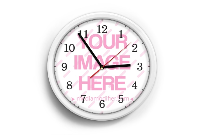 Wall Clock Hanging with Soft Shadows Mockup Generator preview image
