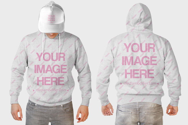 Men's Hoodie Front and Back View Mockup Generator preview image