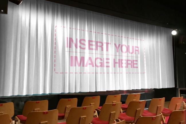 logo mockup on stage curtain mockup generator