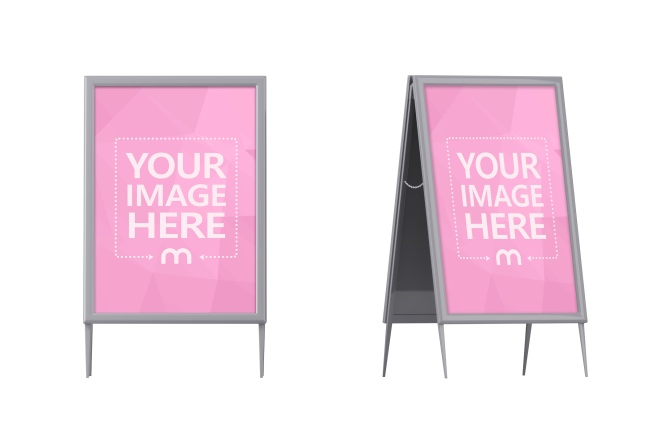 Metal Stand Sign Board Mockup Generator preview image