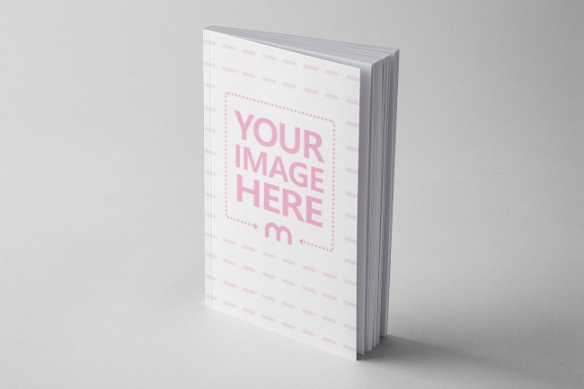 softcover paperback book standing free cover mockup generator