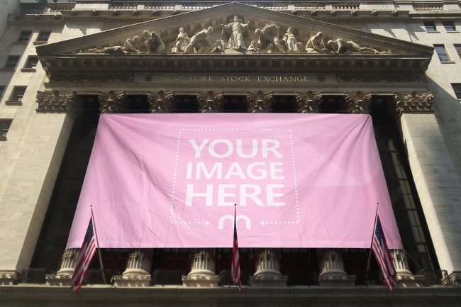 New York Stock Exchange Banner Flag Mockup Generator