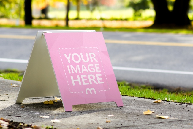 Wood Sign Board on the Street Mockup Generator preview image